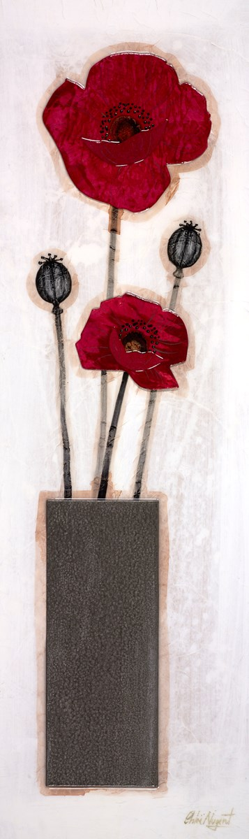Poppies on Display II by chloe nugent -  sized 9x30 inches. Available from Whitewall Galleries
